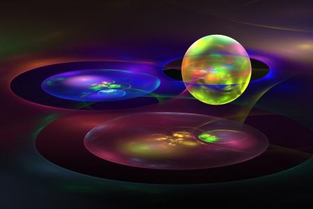 fractal flame: Generados por computadora planeta esferas Resumen llama fractal