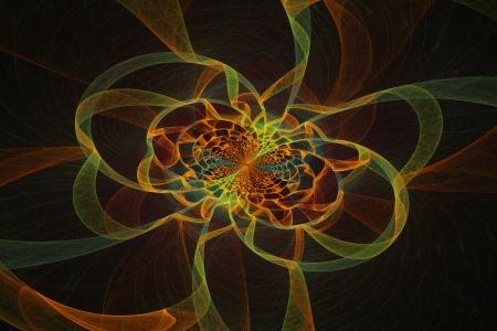 fractal flame: Generado por ordenador v�rtice amarillo Resumen llama fractal sobre fondo negro Foto de archivo