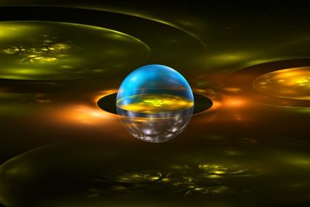 fractal flame: Generados por computadora planeta esfera llama fractal sobre fondo negro Foto de archivo