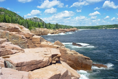 Beautiful summer day on the shores of Acadia National Park, Mount Desert Island, Maine  photo