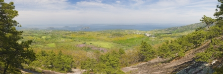 Great Meadow from Dorr Mountain, Acadia National Park, Maine  Stock Photo