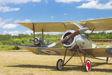 airfield: Antique 1916 Sopwith Pup airplane on airfield