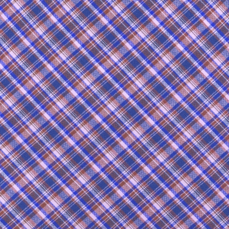 Brightly colored blue brown and white plaid fabric background  Reklamní fotografie