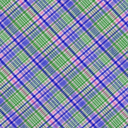 Brightly colored blue green pink and white plaid textile background  photo