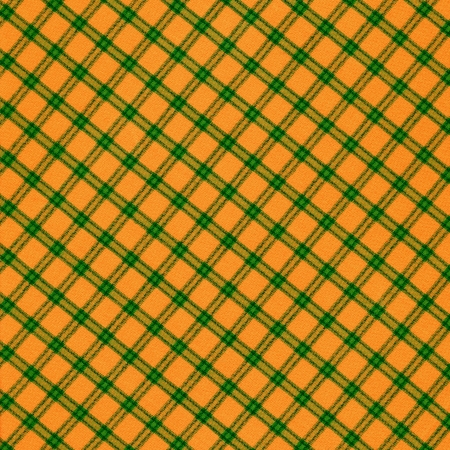 Color orange green plaid textile background.