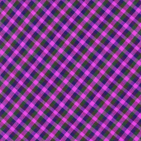 Brightly colored pink purple and green plaid textile background. 스톡 콘텐츠