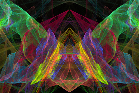 Abstract butterfly fractal flame black background  photo