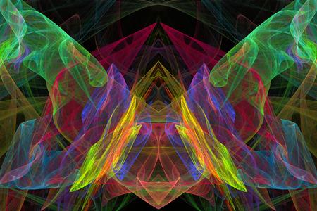 fractal flame: Mariposa abstracta fractal llama fondo negro