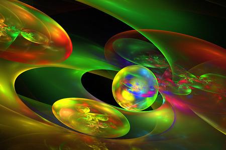 fractal flame: Generados por computadora planeta esfera abstracta de llama fractal Foto de archivo
