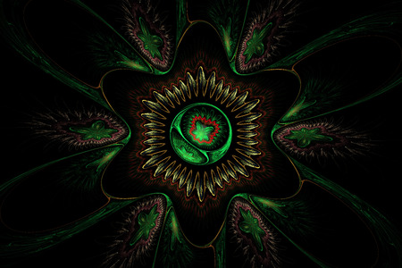 Computer generated green flower abstract fractal flame  photo