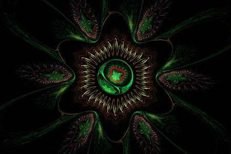 fractal flame: Generado por ordenador flor verde Resumen llama fractal