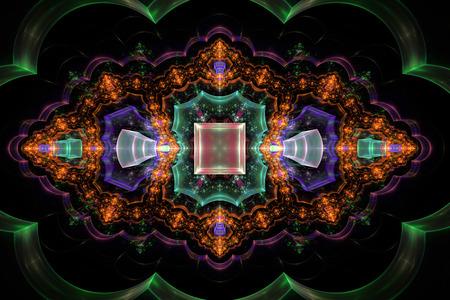 fractal flame: Naranja fractal llama fondo abstracto 3D negro generados por ordenador Foto de archivo