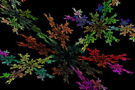 fractal flame: Generado por ordenador de color rojo amarillo llama resumen fractal verde sobre fondo negro Foto de archivo