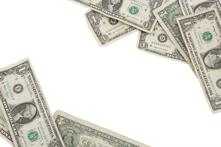 jack pot: Frontera hecha de billetes de un d�lar para el espacio de la copia Foto de archivo