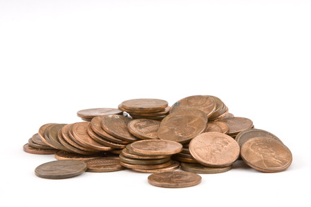 Pile of pennies on white background