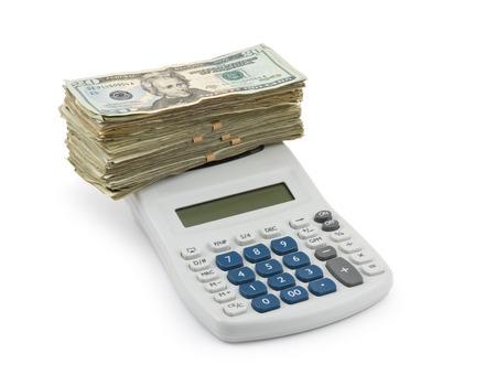 Money and Calculator isolated on white Background  photo
