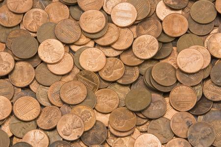 アメリカの銅貨の背景 写真素材