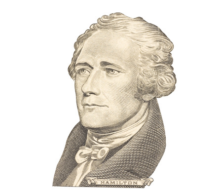 Portrait of Alexander Hamilton isolated on white background  Editorial