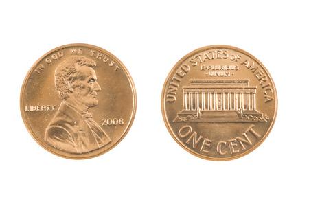 penny: United States Penny on white background  Stock Photo
