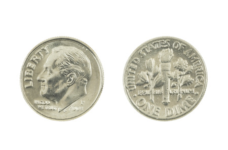 dime: United States Dime on white background