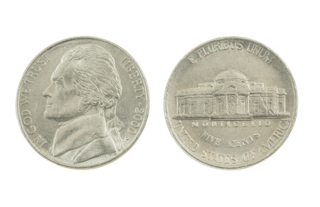 United States Nickel on white background