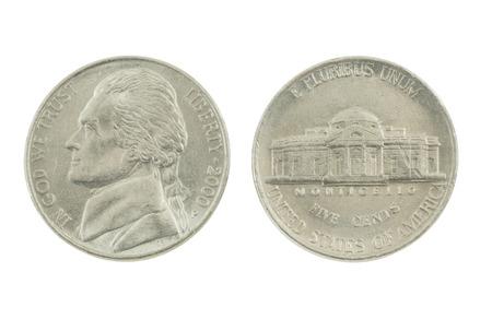 pluribus: United States Nickel on white background
