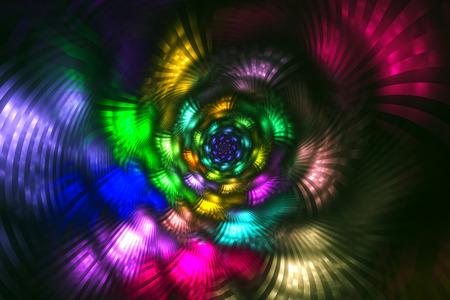 fractal flame: Llama fractal abstracto con fondo negro Foto de archivo
