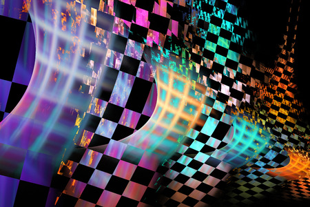fractal flame: Patr�n de cuadros abstracto llama fractal sobre fondo negro Foto de archivo