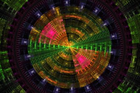 fractal flame: Disco verde tecnolog�a abstracta p�rpura y orenge Futurista de fondo de llama fractal Foto de archivo