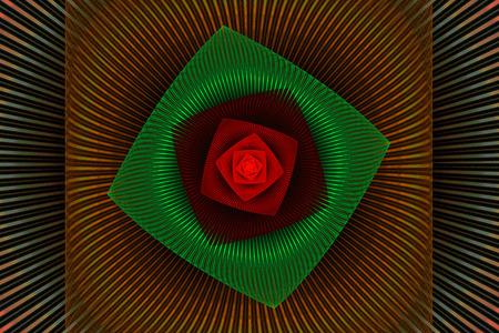 fractal flame: Colorful vortex llama fractal psicod�lico verde y rojo de fondo con el backround negro Foto de archivo