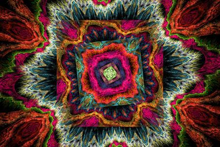 fractal flame: Colorido psicod�lico, rosa, naranja y verde ronda v�rtice Resumen llama fractal
