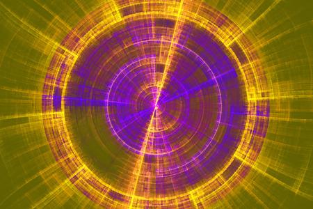 fractal flame: Disco de tecnolog�a futurista abstracta fondo verde llama fractal amarillo y azul Foto de archivo