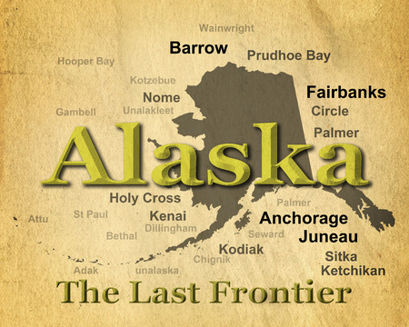 Aged antique paper Alaska state pride image including map silhouette with cities, towns and nickname.  Stock Photo