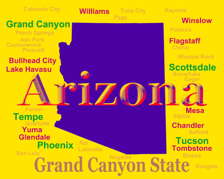 chandler: Colorful Arizona state pride image including map silhouette with cities, towns and nickname.