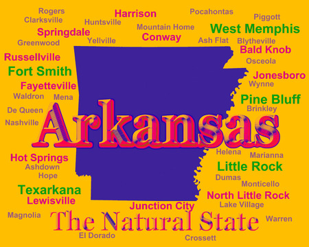 arkansas state map: Colorful Arkansas state pride image including map silhouette with cities, towns and nickname