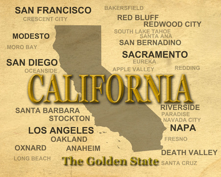 California state pride image including map silhouette with cities, towns and nickname