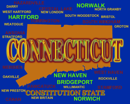 Connecticut state pride image including map silhouette with cities, towns and nickname
