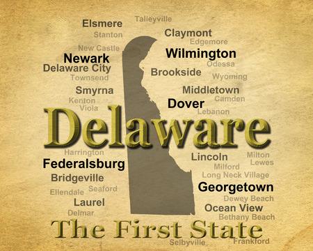 dewey: Carta antica Delaware immagine invecchiata orgoglio stato compreso map silhouette con citt�, paesi e soprannome