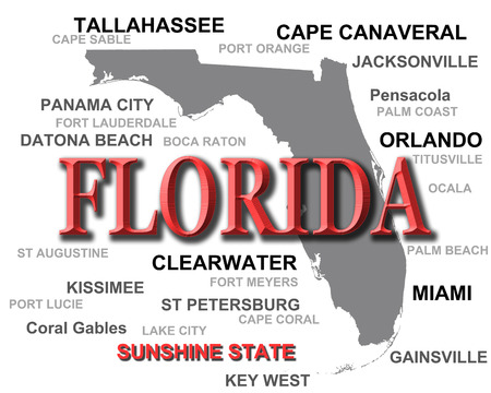 Florida state pride image including map silhouette with cities, towns and nickname   photo