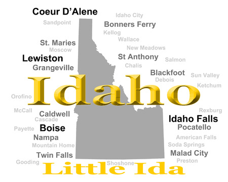 Idaho state pride image including map silhouette with cities, towns and nickname