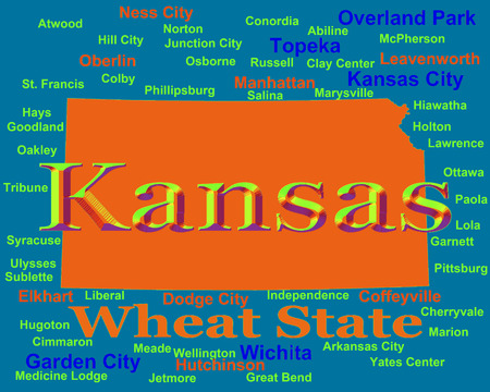 liberal: Colorful Kansas state pride image including map silhouette with cities, towns and nickname