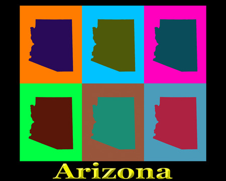 Colorful Pop Art map silhouettes of the state of Arizona