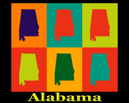 warhol: Colorful Pop Art map silhouettes of the state of Alabama