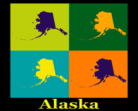 Colorful Pop Art map silhouettes of the state of Alaska  Фото со стока