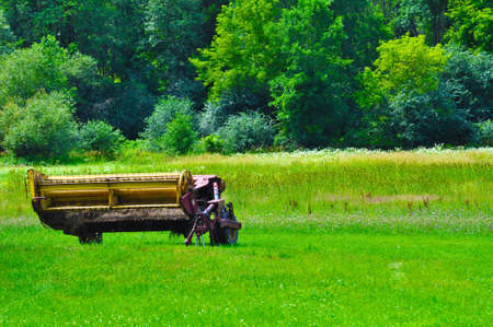 farm equipment: Farm equipment retired in a beautiful green field