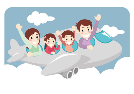 family isolated: Illustration of a Family on a Vacation Trip through Airplane