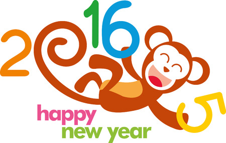 chinese new year element: 2016 Happy Chinese New Year of the Monkey with China cultural element icons. Eps 10 vector. Illustration
