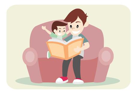 Padre del libro de lectura junto con su hijo en el sofá Foto de archivo - 48730737