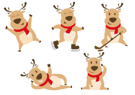 Reindeer Playing Ice Hockey, Ice Skating and Dancing