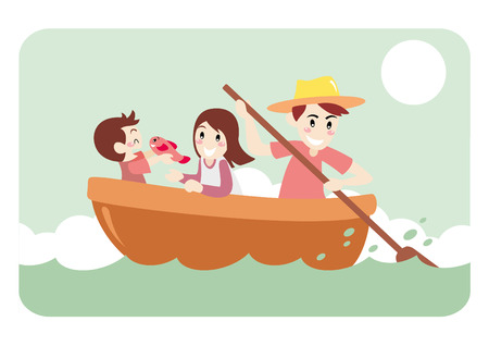 family holiday: Father Take Kids Vacation, Across the River by Wooden Ship